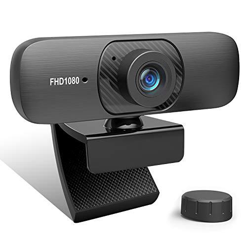 Webcam 1080P Full HD con Micrófono, Cámara Web USB Giratorio de 360 Grados Plegable, Enfoque Automático y Micrófono de...