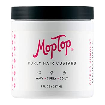 MopTop Curly Hair Custard Gel for Fine Thick Wavy Curly & Kinky-Coily Natural hair Anti Frizz Curl Moisturizer Definer & Lightweight Curl Activator w/ Aloe great for Dry Hair 8oz.