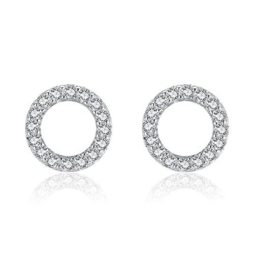 Pendientes redondos simples de plata de ley 925 para mujer, joyería hipoalergénica geométrica brillante con circonita cúbica, regalos para niños de 8 MM