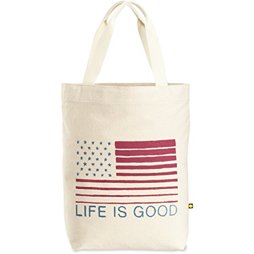 Life is Good Messaging Tote Bag, Flag Stripes, One Size