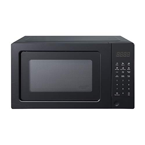 SMETA Small Compact Microwave Oven Countertop 0.7 Cu.Ft/700W for Dorm, 10 Power Levels, Child Safety Lock, Black