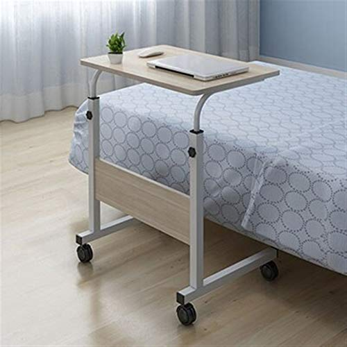 GUOQING Laptop Desk Removable Laptop Table Bed Desk Notebook Stand Table Bedside Sofa Bed Adjustable Portable Computer Desk With Wheels portable overbed chair table (Color : Beige 1)