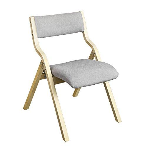 SoBuy FST40-HG Klappstuhl Küchenstuhl mit gepolsterter Sitzfläche und Lehne grau
