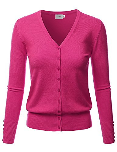 LALABEE Women's V-Neck Long Sleeve Button Down Sweater Cardigan Soft Knit-HOTPINK-M