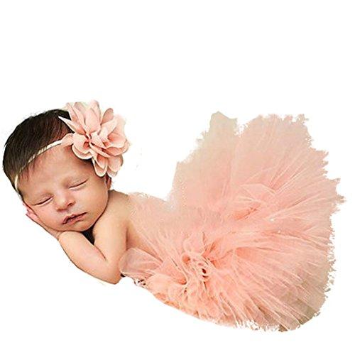 Hengsong Costume de bébé Nouveau-né Infant Bébé Tutu Robe et Bandeau Set 12 Styles (Rose Cuir)