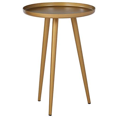 "Amazon Brand – Rivet Mid-Century Modern Round Metal Side End Table, 15""W, Brass"