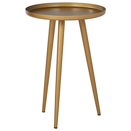 "Amazon Brand – Rivet Mid-Century Modern Round Metal Side End Table, 15""W, Brass"