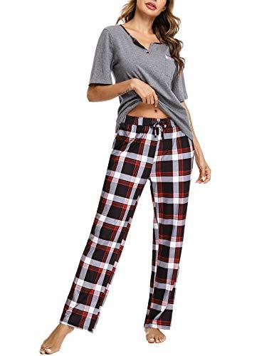 Doaraha Pijama a Cuadros para Mujer Camiseta y Pantalones Pijamas Manga Larga Celosía Ropa de...