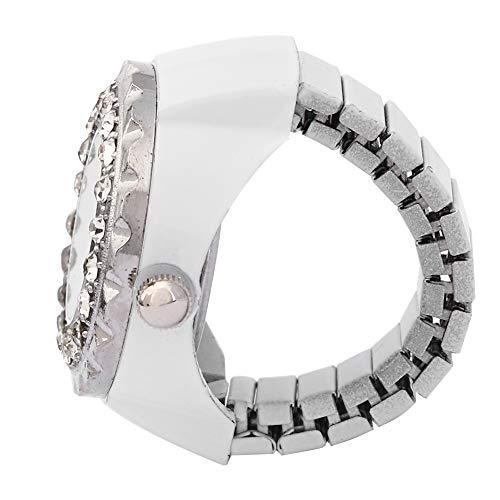 【𝐍𝐞𝒘 𝐘𝐞𝐚𝐫 𝐆𝐢𝐟𝐭】 Reloj de Anillo Brillante, Reloj de Anillo de Cuarzo con Dedo de Diamantes de imitación de Moda Informal, Chicas Hermosas de aleación para Mujeres(White)