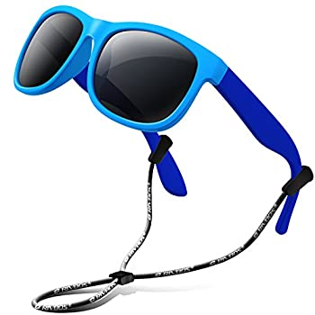 RIVBOS Kids Sunglasses Boys with Strap Polarized Rubber Flexible Shades for Toddler and Children Age 3-10 RBK023-1 Blue&blue