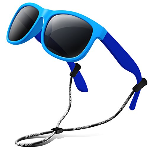 RIVBOS Rubber Kids Polarized Sunglasses With Strap Glasses Shades for Boys Girls Baby and Children Age 3-10 RBK023 (Blue&blue)