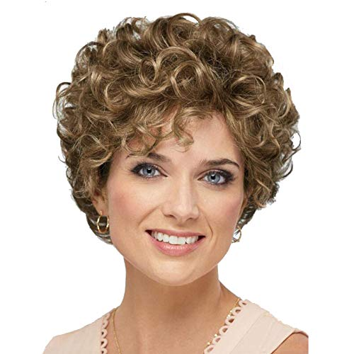 Baruisi Short Curly Wavy Brown Wigs for Women Natural Looking Synthetic Hair Replacement Wig