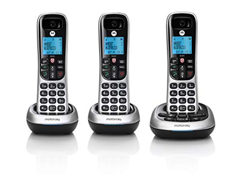 verizon cordless phones motorola CD4013 Digital Cordless Phone with Answering Machine with 3 Handsets, Silver