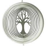 CIM Edelstahl Windspiel - LEBENSBAUM 300 - lichtreflektierend - Durchmesser: 27.5cm - inkl. Aufhängung