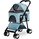Paws & Pals Dog Stroller Easy to Walk Folding Travel Carriage for Pets & Cats with Detachable Carrier - Blue