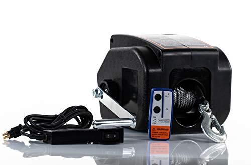 DMS Elektronische Seilwinde 12 V | Motorwinde | Bootswinde | Anhänger | Auto | Funkfernbedienung | Zugkraft von 4990 kg