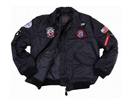 Fostex garments Blouson Aviateur Bombers B-52 Top Gun Noir Enfant avec Porte Clé (12 Ans)