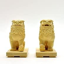 厳選手彫り開運・魔よけアイテム 木彫 ★桧木狛犬(唐獅子)阿吽セット 総高10cm