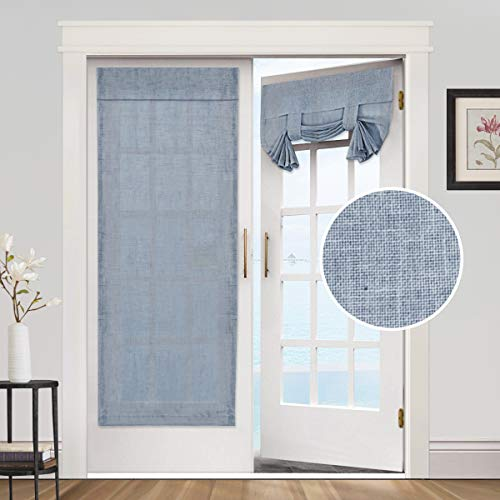 Privacy French Door Curtains- Linen Blended Weave Textured Tricia Tie Up Light Filtering Functional Thermal Insulated Portable Panel Drapes for Home and Office,26 x 68 inches, 1 Panel, Stone Blue