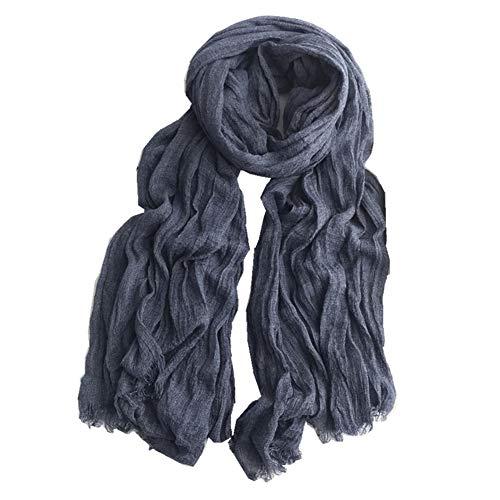 Asudaro - Bufanda de invierno para mujer, estilo cashmere, pañuelo de cuello, cuadrado, clásico, babero, bufanda de algodón, pañuelo de hombro con borla azul marine talla única
