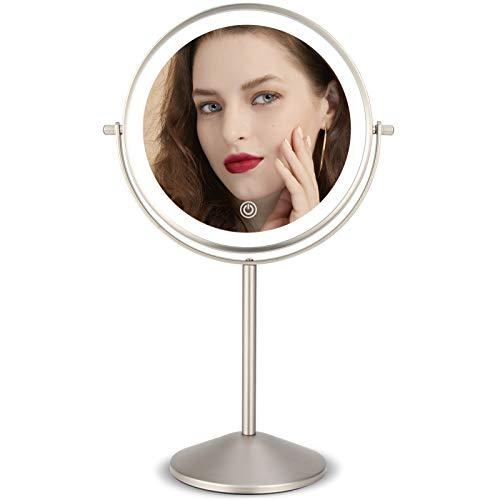 Espejo Maquillaje con Luces Led, 8 Pulgad Recargable Espejo Tocador con 1X/10x Aumento, Iluminación de 3 Colores, Doble Cara Grande Espejo Mesa Cosmético Maquillaje con Luz, Rotación de 360 °