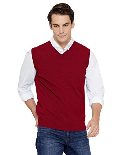 State Cashmere Men's Classic Sleeveless Sweater Vest 100% Pure Cashmere V-Neck Style Pullover (XX-Large, Burgundy)