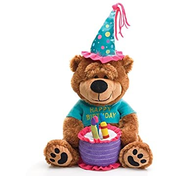 """Adorable Happy Birthday Teddy Bear With Cake That Plays """"Happy Birthday To You"""" Great Gift Item"""