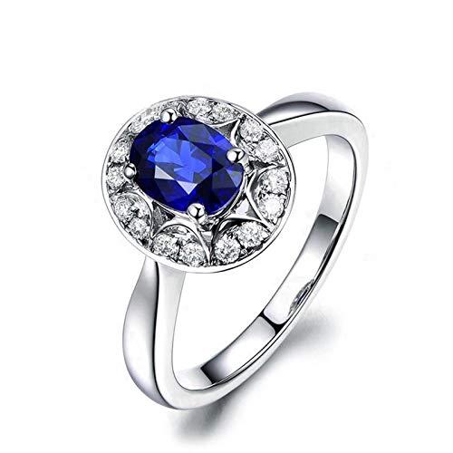 AueDsa Anillo Plata de Ley Mujer 925,Anillos Compromiso Zafiro Azul Oval con 6X8MM Zafiro Azul Blanco Anillo Compromiso Mujer Talla 25