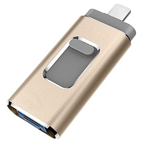 YOHU 256GB Pendrive para iPhone Photo Stick Memoria USB para iPhone y iPad Android Laptops Flash Drive Expansión (Oro)