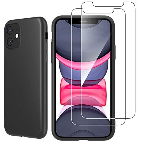 NEW'C Funda para iPhone 11 Ultra Thin Silicona Negra y 2X Protector...