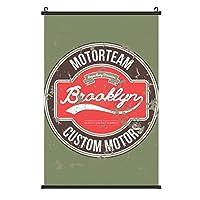 Motorteam Brooklynポスターハンギングペインティングウッドフレーム装飾壁アートスクロールポスターハンギングホームアートプリント装飾絵画40cm * 60cm