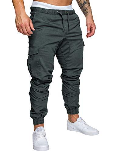 Yidarton Men's Cargo Pants Slim Fit Casual Jogger Pant Chino Trousers Sweatpants(dg,l) Deep Gray