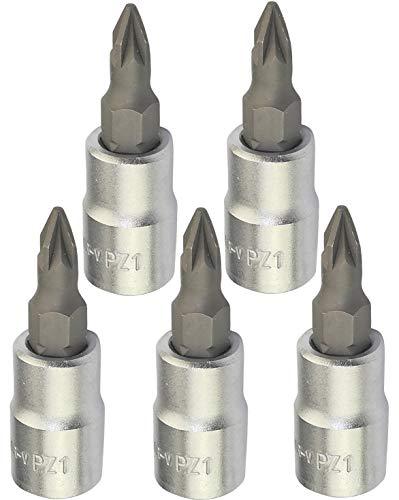 AERZETIX - Juego de 5 Vasos/Puntas de Destornillador 1/4 PZ1x37mm para Tornillos...