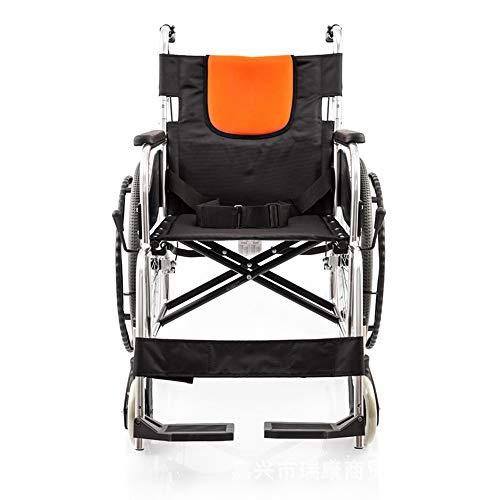 Silla de ruedas turística manual de turismo para personas mayores de edad, silla de ruedas, ligera, plegable, fácil de usar, silla de ruedas (color: negro, talla única)