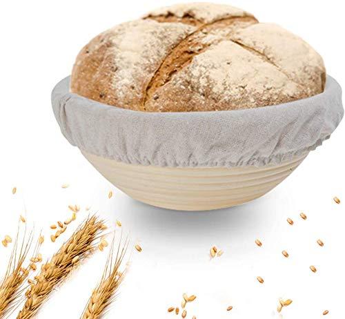 Ayuse 9 Inch Bread Banneton Proofing Basket-Professional Baking Tool Baking Bowl Dough, Bread Slashing Scraper Tool + Dough Scraper + Cloth Liner, Home Bakers & Baking Gifts Beige, 9in