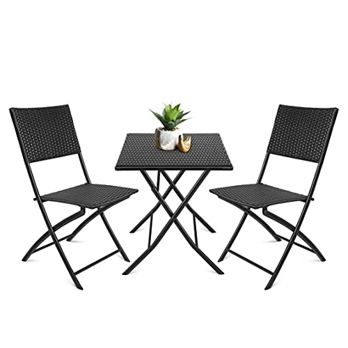Juego de Muebles de Jardín, Conjunto Mesas y Sillas, 1 Mesa+2 sillas, Imitación Ratán, Plegable, Cómodo, Portátil, Impermeable y Anti-UV, Hecho de PP, para Jardín, Terraza, Balcón, Negro