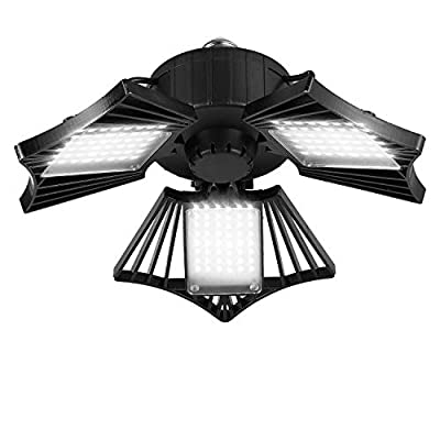 80W LED Garage Light, Deformable LED Garage Ceiling Lights with 3 Adjustable Wings, 8000LM, E26 LED Garage Lighting for… - 【Adjustable Design】3 aluminum adjustable LED panels of led garage ceiling lights, which can be folded up to 90 degree. Plug in garage light, you can light up how large areas as you want. Note: This garage work light is Non-dimmable light 【Easy To Install】Garage light fixture is easy to Install, no tools required, no wiring, just screw it into a normal lamp receptacle. Note: This Garage lighting led works great in a E26/E27 standard light socket 【Wide Application】With a E26/E27 medium base, it's a excellent replacement of conventional fluorescent fixture for garages, basements, workshops, utility and recreation rooms, storage rooms, barn, equipment rooms, large area lighting requirements, industrial workstations, workspace, carports, auto shops, Task and general purpose lighting. It can be worked as a led garage light,low/ high bay light, led work light or led light bulb lamps. - kitchen-dining-room-decor, kitchen-dining-room, chandeliers-lighting - 413qSir0Z5L. SS400  -