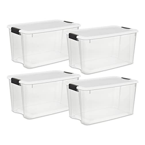 19889804 70 Quart/66 Liter Ultra Box Clear with a White Lid and Black Latches 3