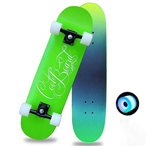 31-Zoll-Rad Luminous Skateboard, Geeignet for Kinder elektronische Skateboard Mädchen Jungen Jungen, Skateboard QIANGQIANG (Color : Green)