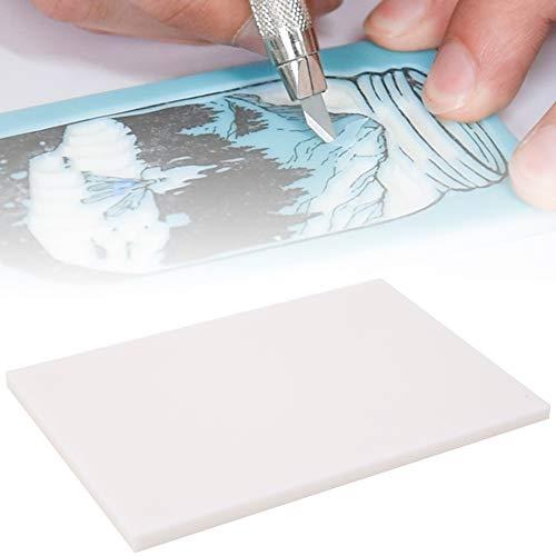 Bloque de talla de goma de 1 pieza, 15x10x0.5cm Estampado de goma en blanco para sellos artesanales Fabricación de bricolaje(Blanco)