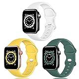 TopPerfekt Correa de silicona compatible con Apple Watch Correa de 42 mm 44 mm, correas de repuesto de silicona para iWatch Series 6 5 4 3 2 1 SE (42/44 mm-S/M, blanco/amarillo/verde oliva)