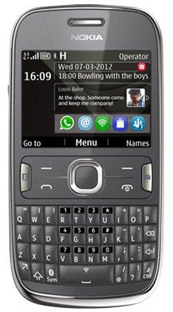 Nokia Asha 302 Handy auf Vodafone / QWERTY / Pay as You Go / Pre-Pay / PAYG - Grau