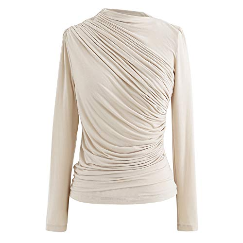 Chicwish Women's Cream Ruched Long Sleeves Top