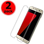 [2 Pack] Galaxy s7edge Screen Protector [Anti-Scratch][High Definition][Bubble Free][Anti-Fingerprint][Clear] S7 Edge Tempered Glass Screen Protector Compatible with Samsung Galaxy S7 Edge