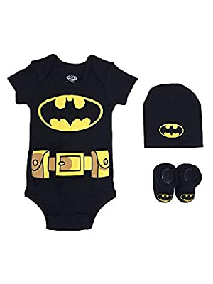 DC Comics Baby Boys Superman, Wonder Woman, Flash, 3-pc Set in Gift Box, Batman Black, 0-6