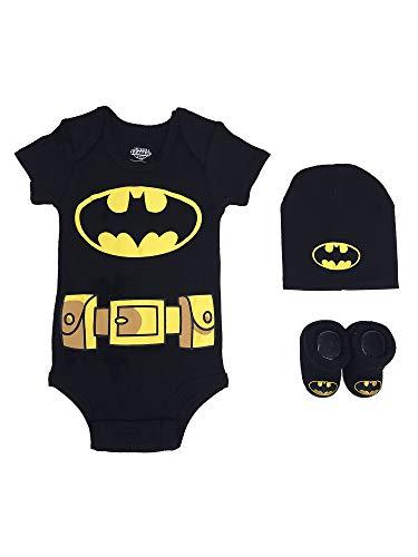 DC Comics Baby Boys Superman, Wonder Woman, Flash, Batman 3-pc Set in Gift Box, Black, 0-6
