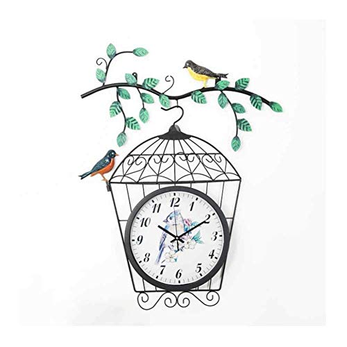 Reloj Reloj de Pared Casa de Campo rústica Relojes Colgantes con Pilas Sala de Estar Dormitorio Cocina Jaula Creativa Marco de Metal Arte Decoración de la Pared 3D
