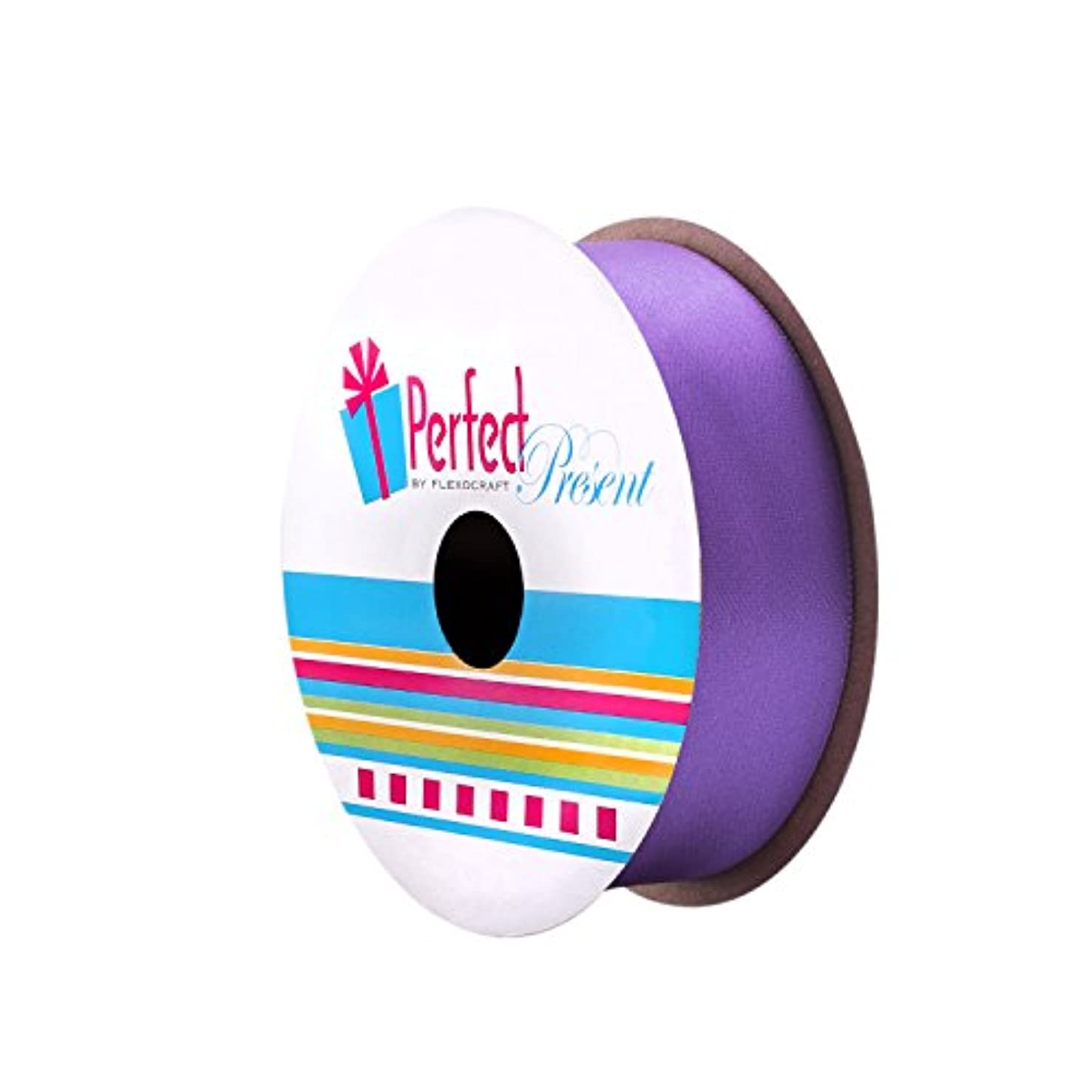 Incredible Packaging - Double Face Stain Solid Ribbon - 10 Colors - 1 in Wide, 16 FT Long. (Purple, 5.33 Yards)
