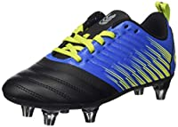 canterbury Boy's Stampede 3.0 Plus Junior Soft Ground Rugby Shoe, Victoria Blue/Lime Punch/Black from Canterbury