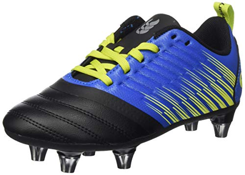 Canterbury Boys' Stampede 3.0 Plus Junior Soft Ground Rugby Boot, Victoria Blue/Lime Punch/Black, 13 UK Medium